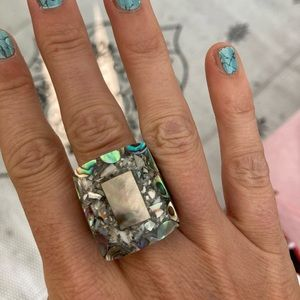 Gorgeous abalone inlay cocktail ring